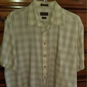 3/$25 Van Heusen Plaid Green Formal Dress Shirt XL